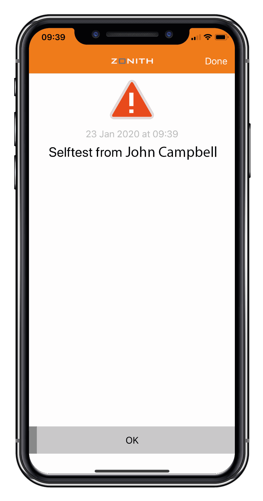 ZONITH App Self-Test Done