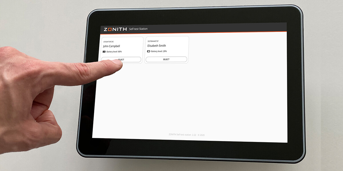 ZONITH Selt-Test Station Wall-Mounted Tablet